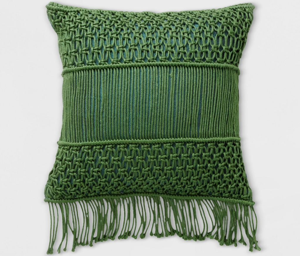 Opalhouse Macrame Two Tone Outdoor Pillow - Green