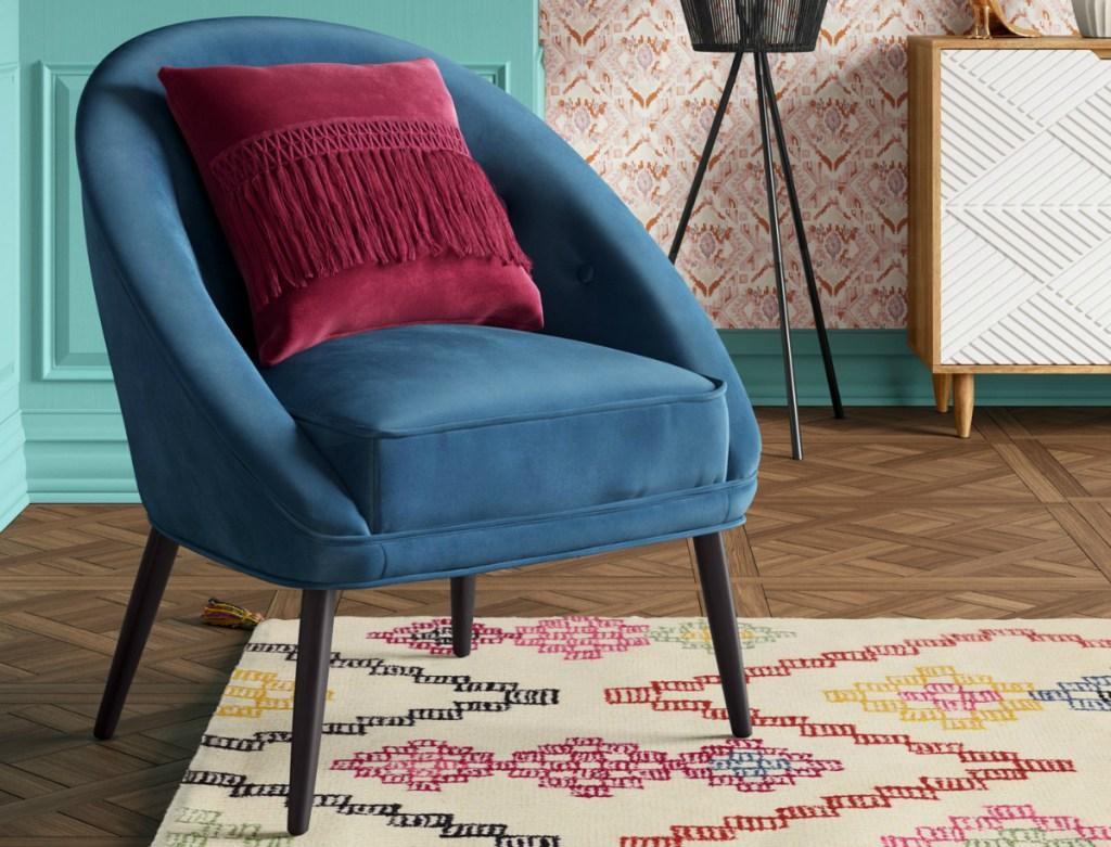 Opalhouse Portia Button Tufted Velvet Blue Barrel Chair