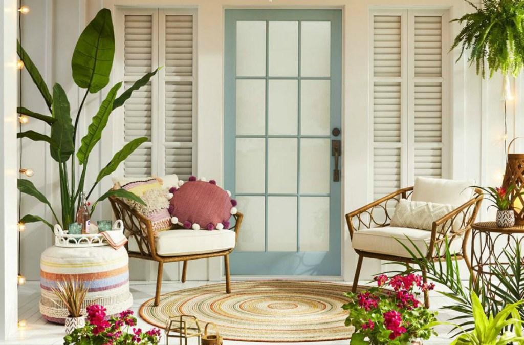 Opalhouse Woven Stripe Outdoor Pouf
