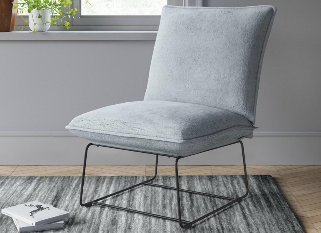 Project 62 Massey Faux Fur Metal Base Slipper Chair
