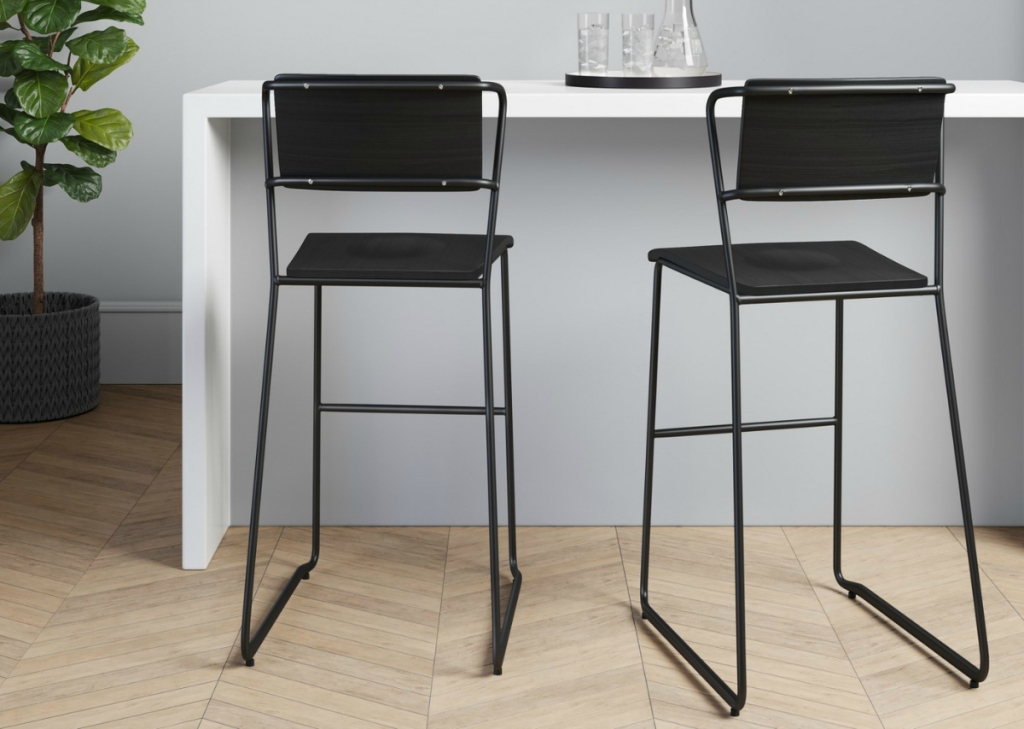 Project 62 Set of 2 Killiam Mixed Material Sled Barstools - Black or White