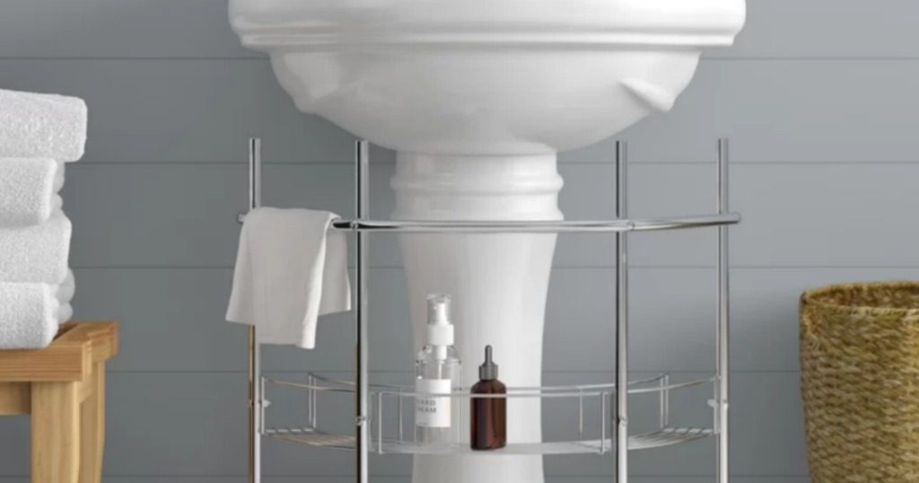 Undermount pedestal sink storage piece