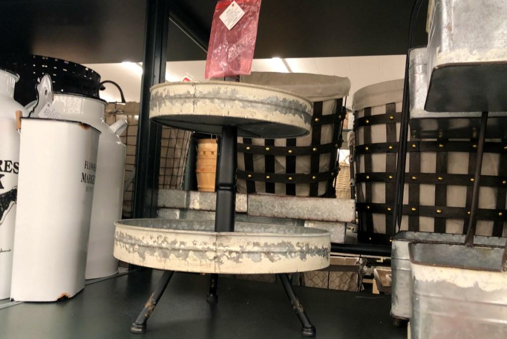 White Distressed Galvanized Metal Round Three-Tiered Tray