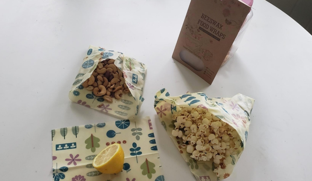 snacks in decorative bags on white counter