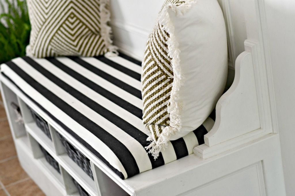 example of DIY bench cushion made with fabric foam and plywood