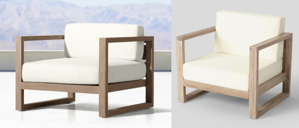 Two Side By Comparisons Of White And Wood Modern Chair