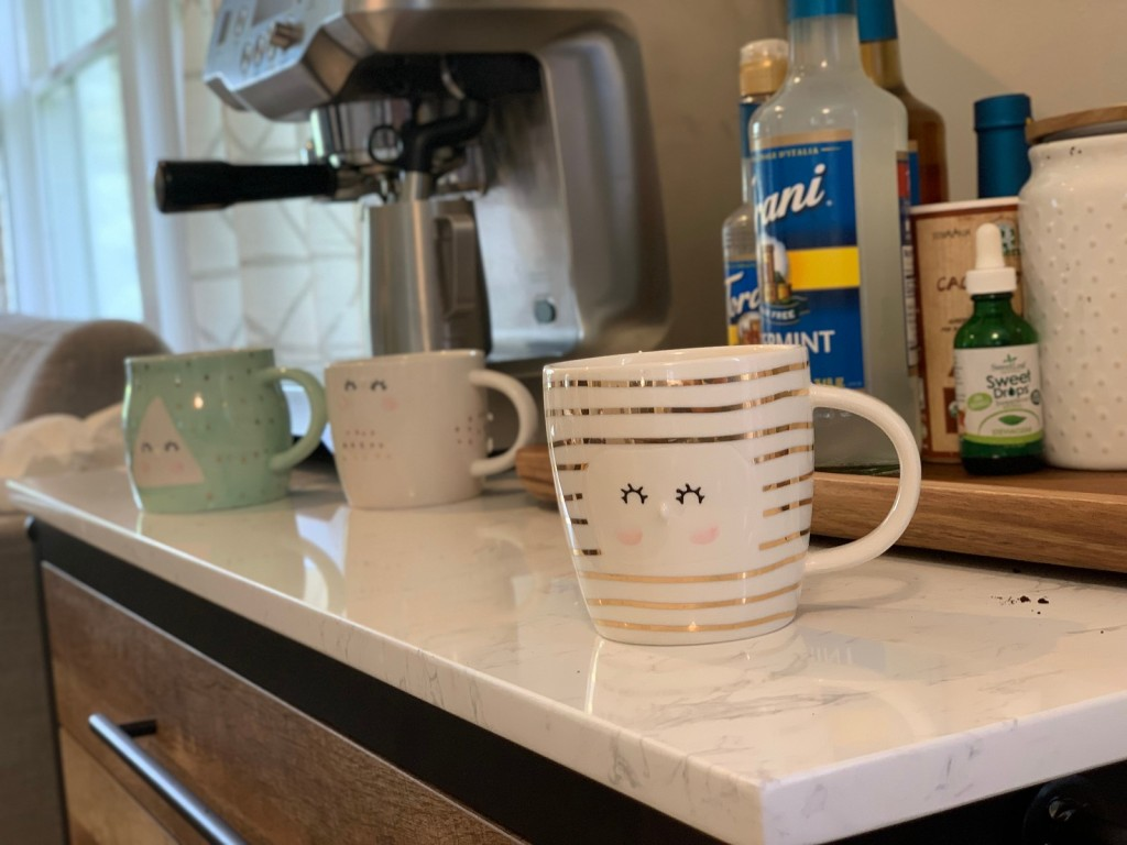 Coffee Cups and Breville Coffee Maker