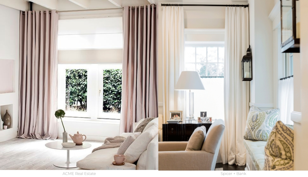 side by side photos of pink and white curtains hanging over windows in living rooms