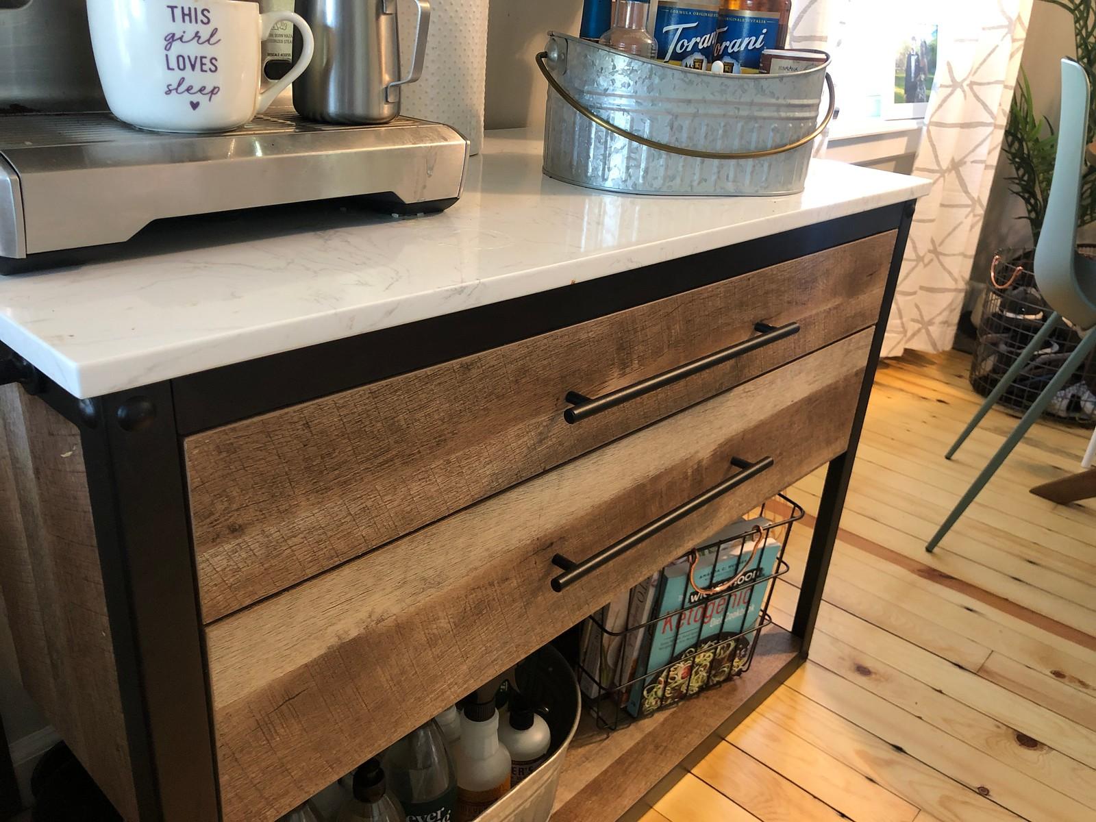 kitchen island with coffee bar
