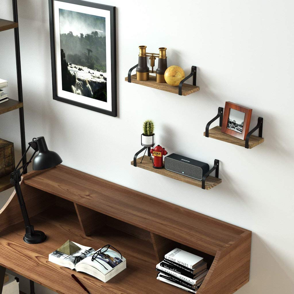 wall mounted floating shelves in office