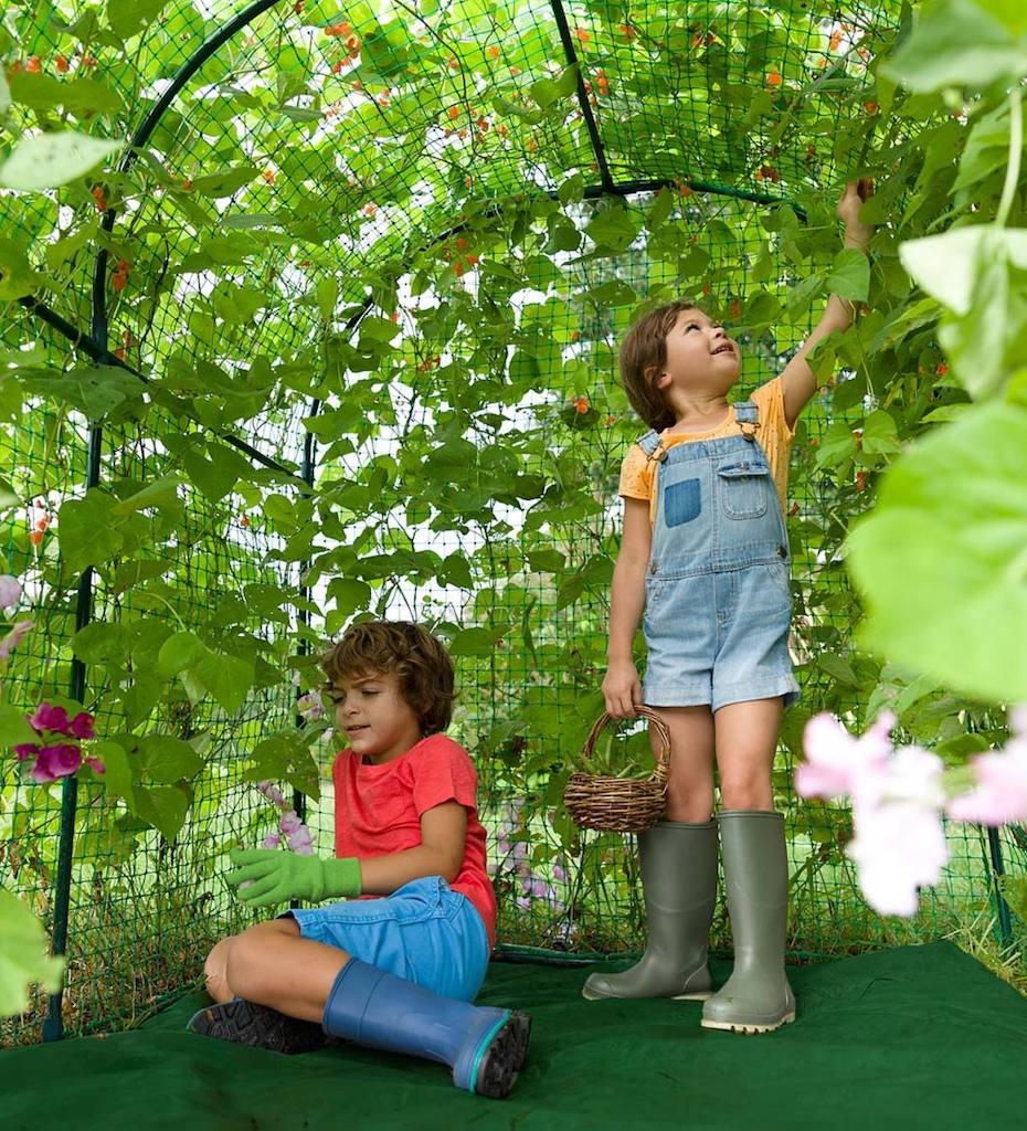 inside DIY garden fort