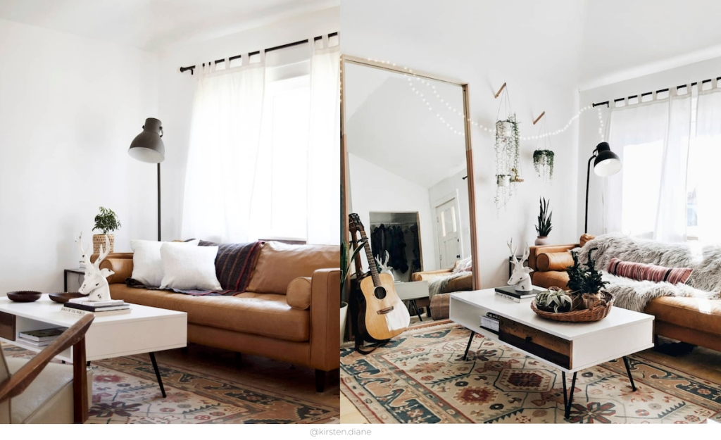 before and after of living room with large floor mirror added to the space with leather brown couch sofa