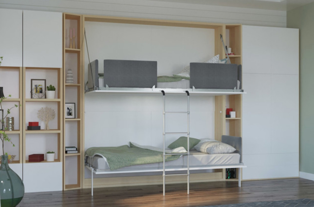 modern looking bunk beds with steel ladder