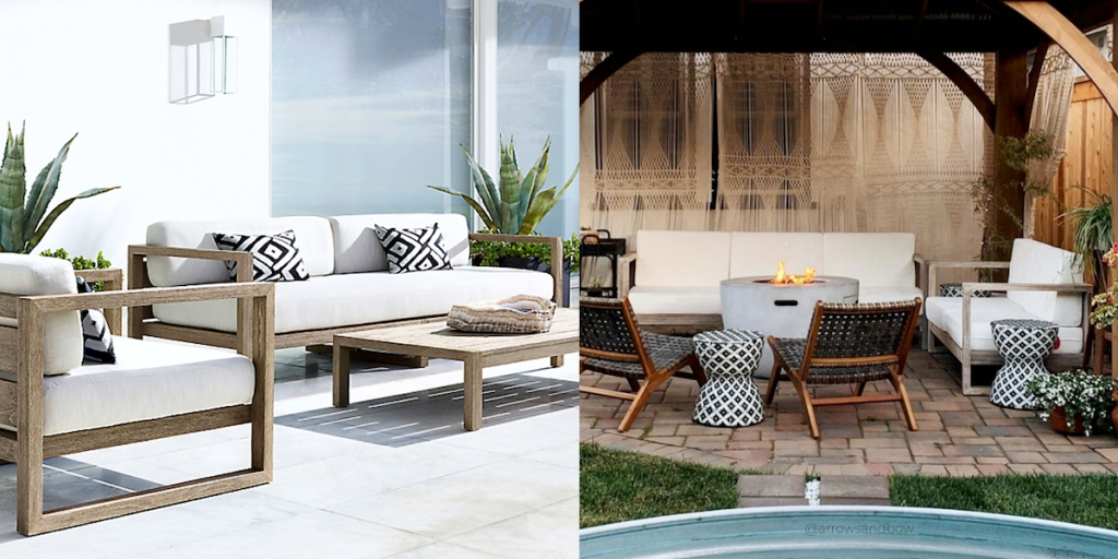 outdoor modern white and wood furniture sets with coffee table and fire pit