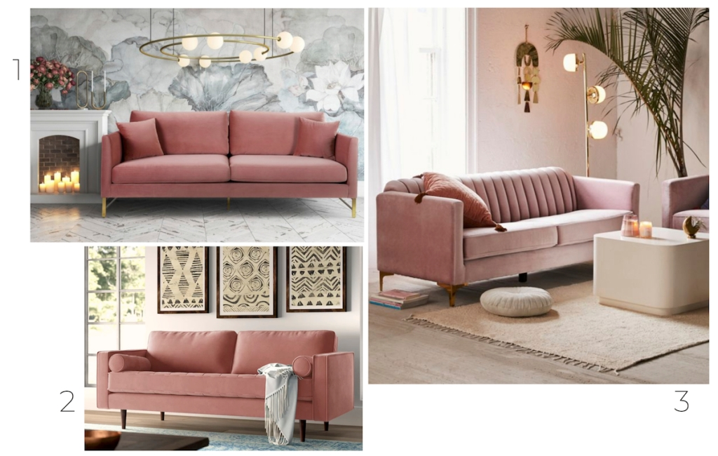 three photos of pink velvet sofas styled in living rooms with neutral room decor