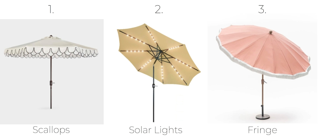stock photos of umbrellas scalloped white solar light beige and pink with white fringe