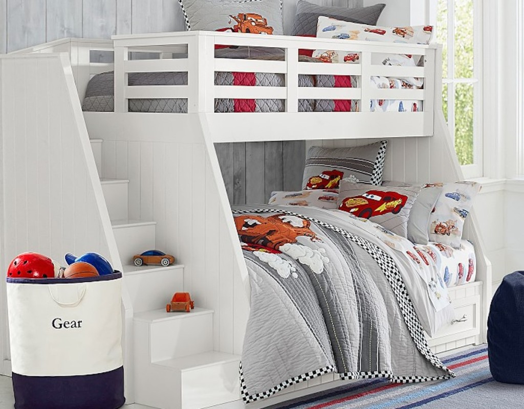 twin over full white staircase bunk bed with cars bedding