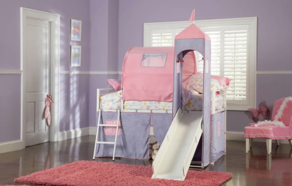 pink and purple princess castle bunk bed