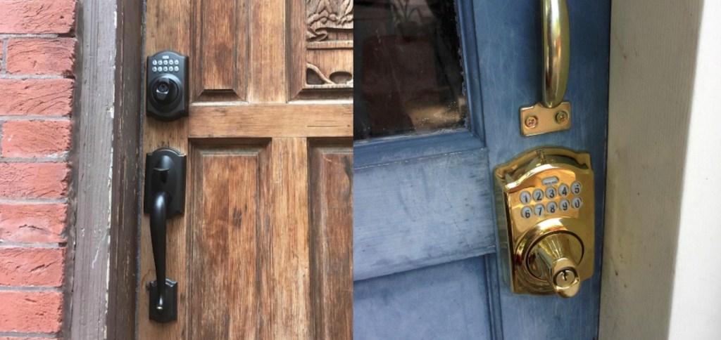 brown wood door with dark handle and lock next to blue door with brass handle and digital lock