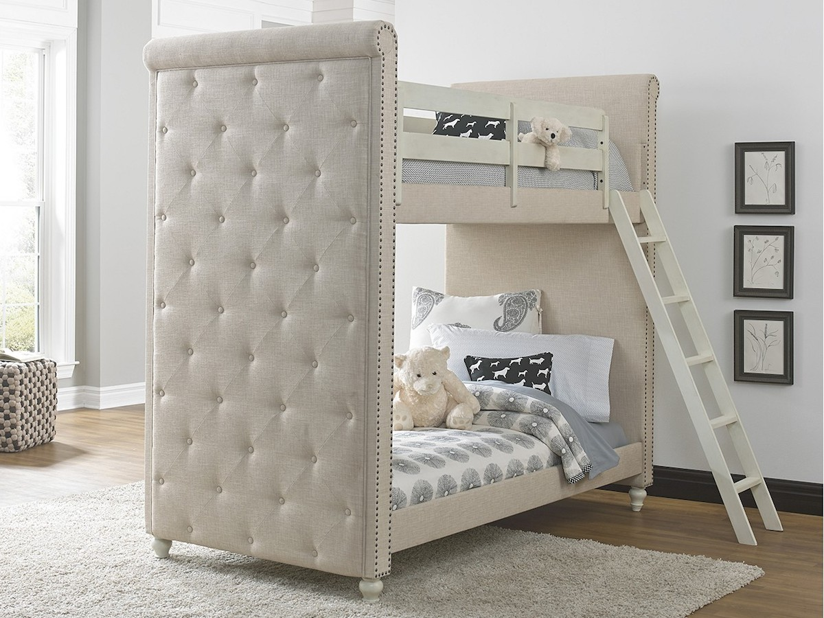 upholstered beige twin over twin bunk bed with ladder