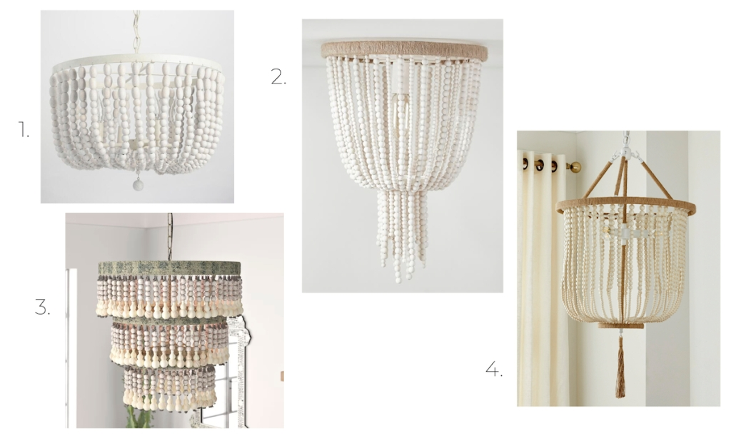 four wood bead chandeliers stock photos of white and tan beaded lights hanging from ceiling