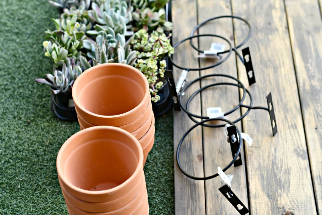 6 inch hanging pot mounts with terracotta pots
