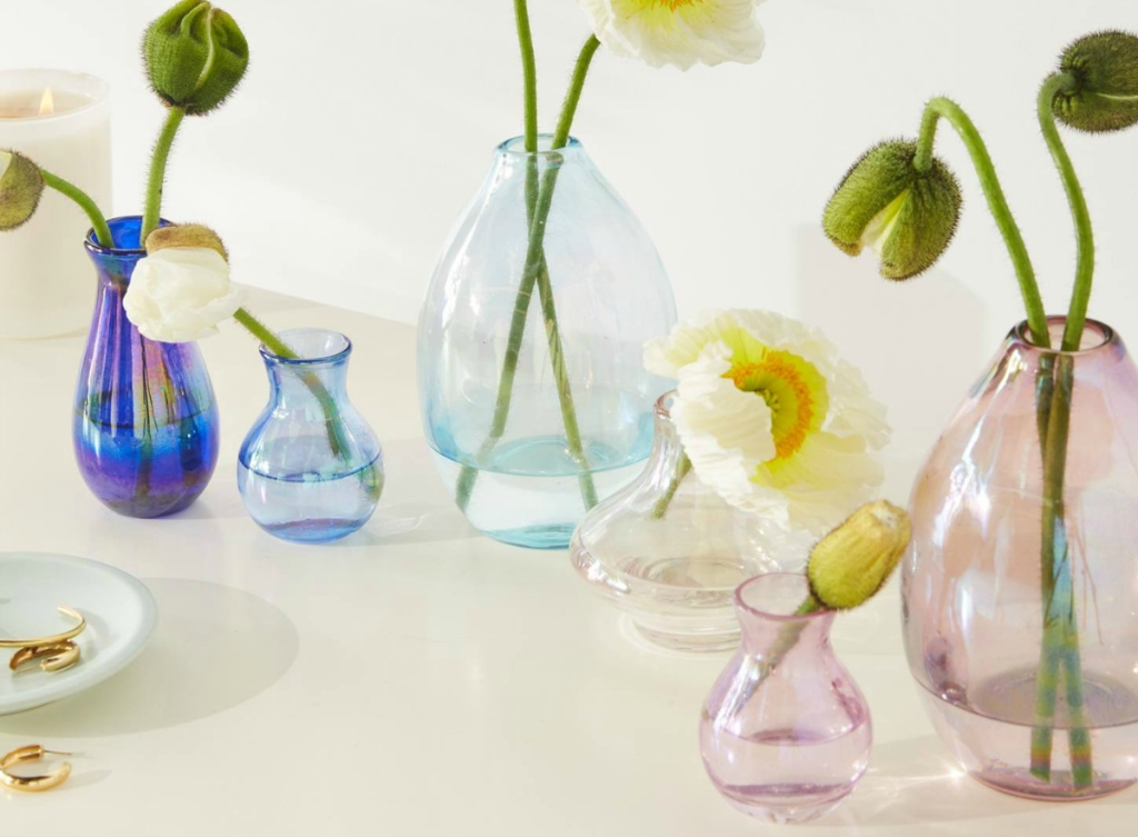blue and pink vases
