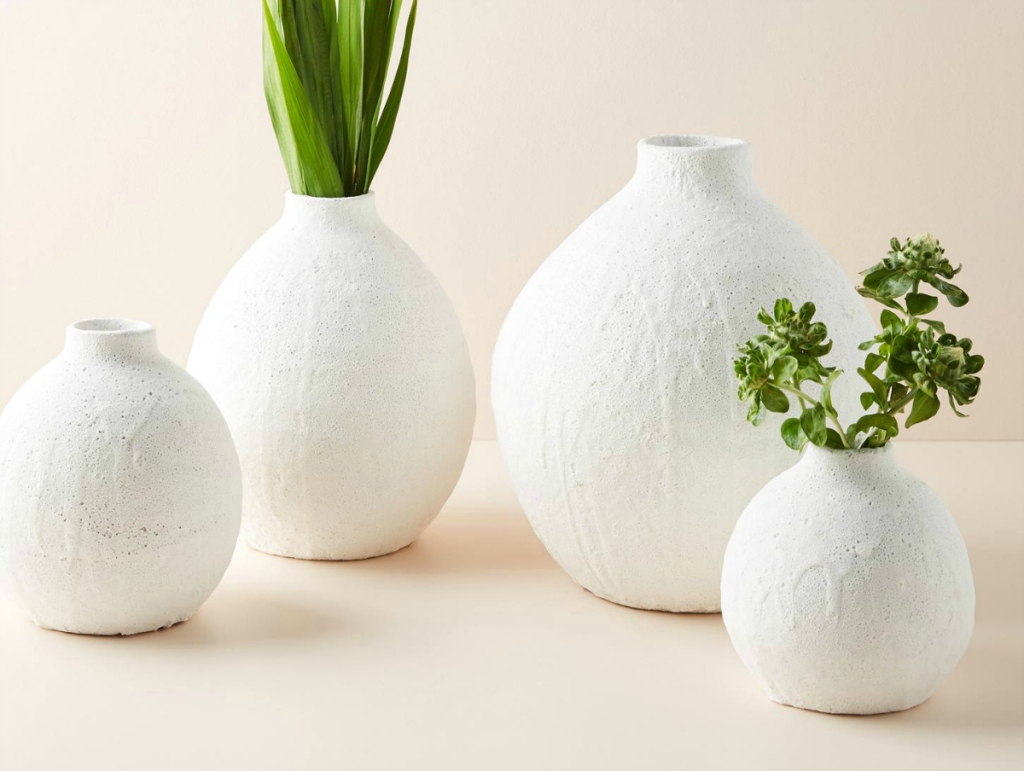 group of white vases