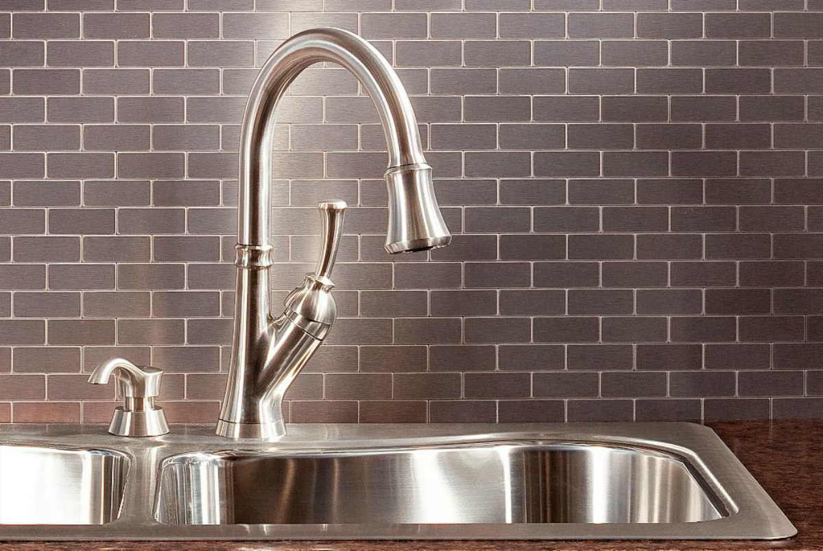 Aspect Subway Brushed Stainless Metal Peel And Stick Wall Tile Backsplash