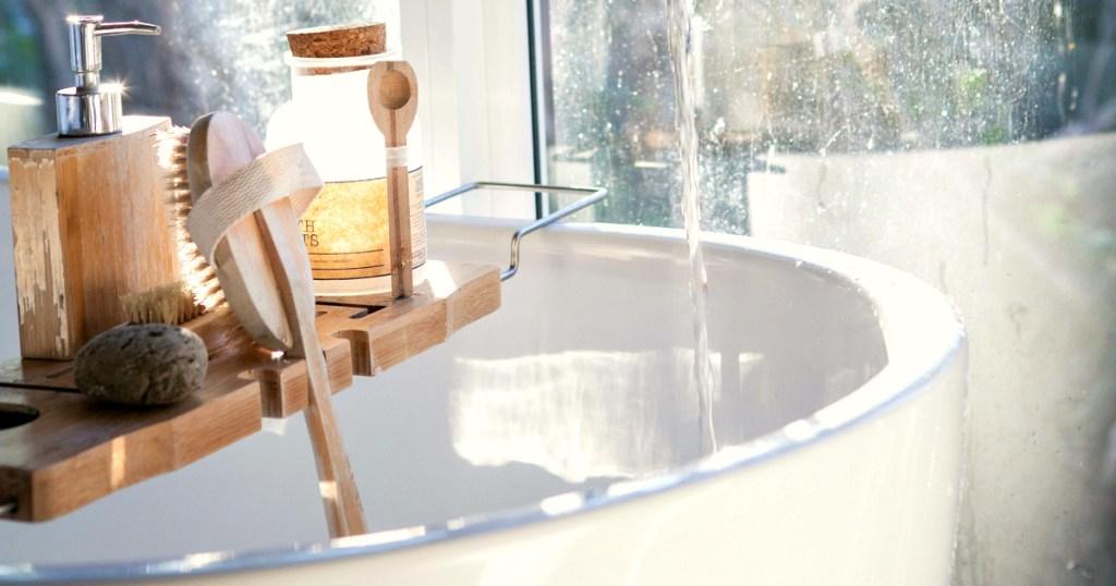 Bathtub Caddy Tray resting on tub