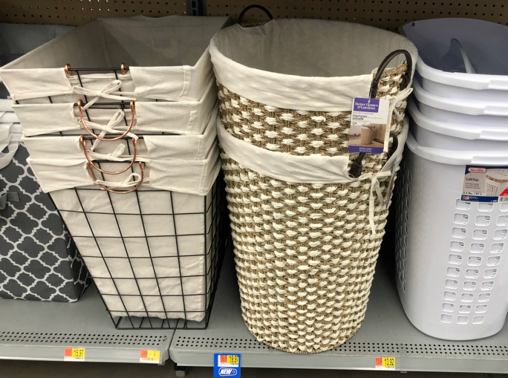 Better Homes & Gardens Woven Seagrass Hamper with Faux Leather Handles