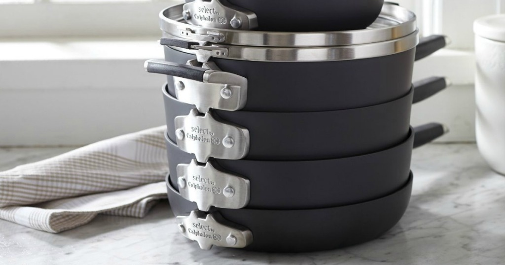Select by Calphalon Space Saving 9-piece cookware set stacked together