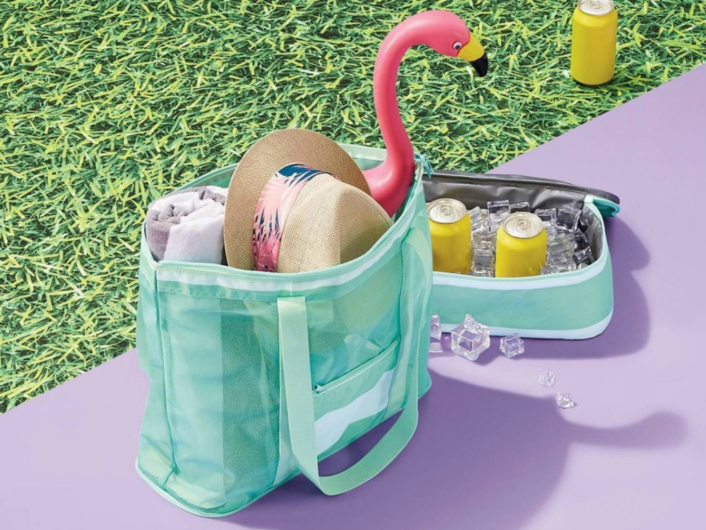 teal cooler tote packed with summer gear and zip-off bottom tote with cans