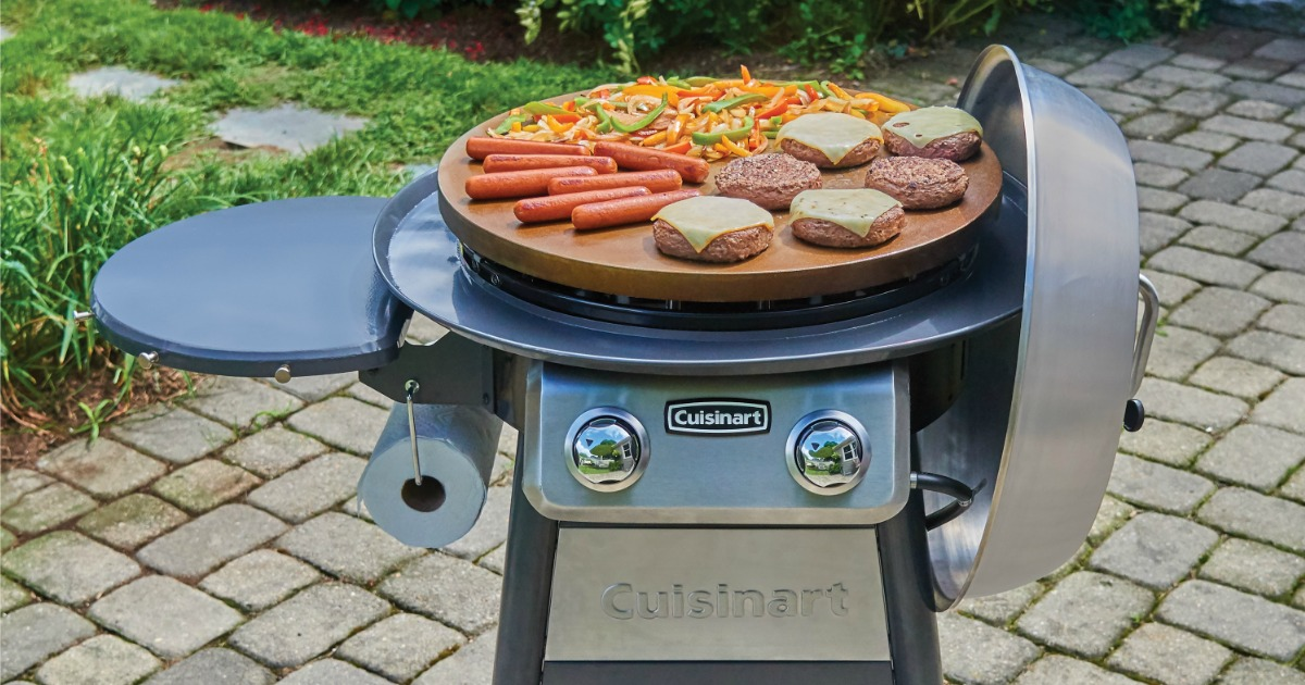 Burgers and hot dogs cooking on Cuisinart Griddle