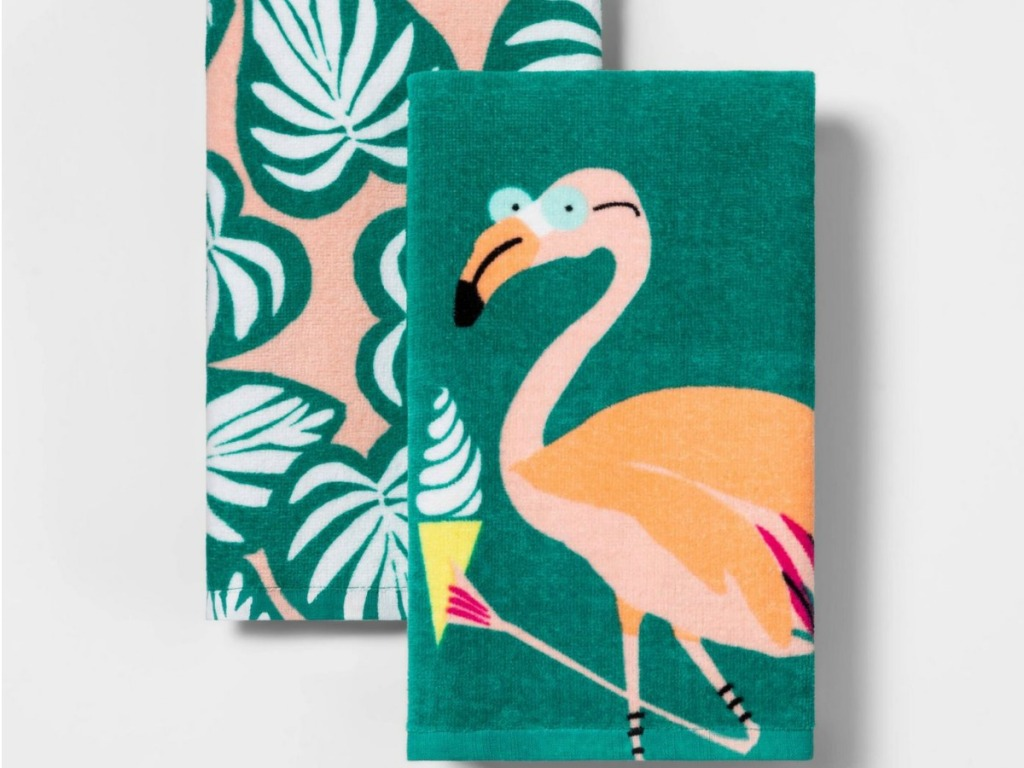 flamingo and palm leaf kitchen towels