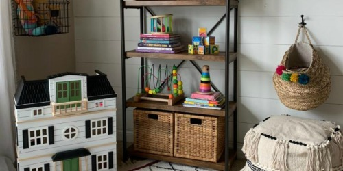 This Industrial Bookshelf is 64% Off, Ships Free, AND Keeps Stuff Organized