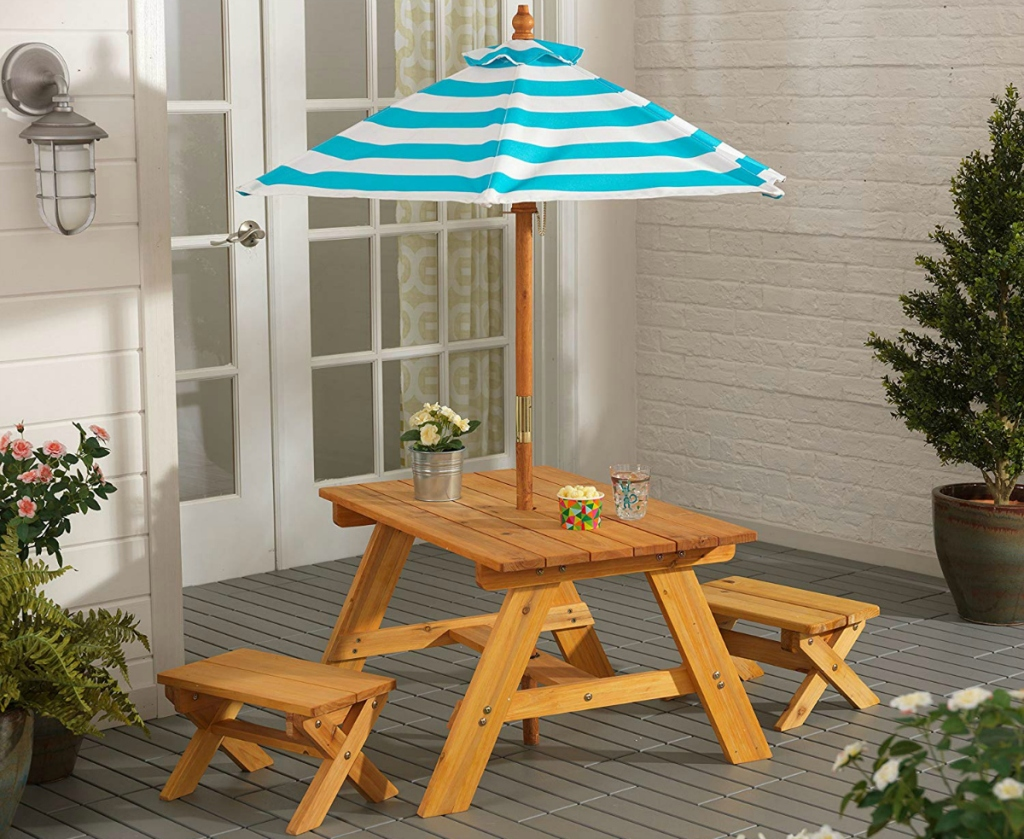KidKraft Wooden Outdoor Table & Bench Set with Striped Umbrella