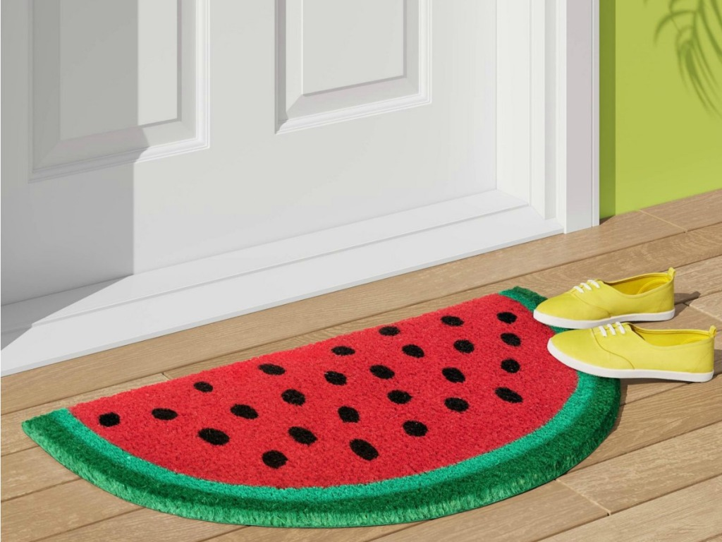 watermelon slice doormat with yellow shoes on them