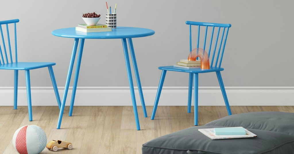 Pillowfort Metal Windsor Table and Chair Set - Turquoise Dream