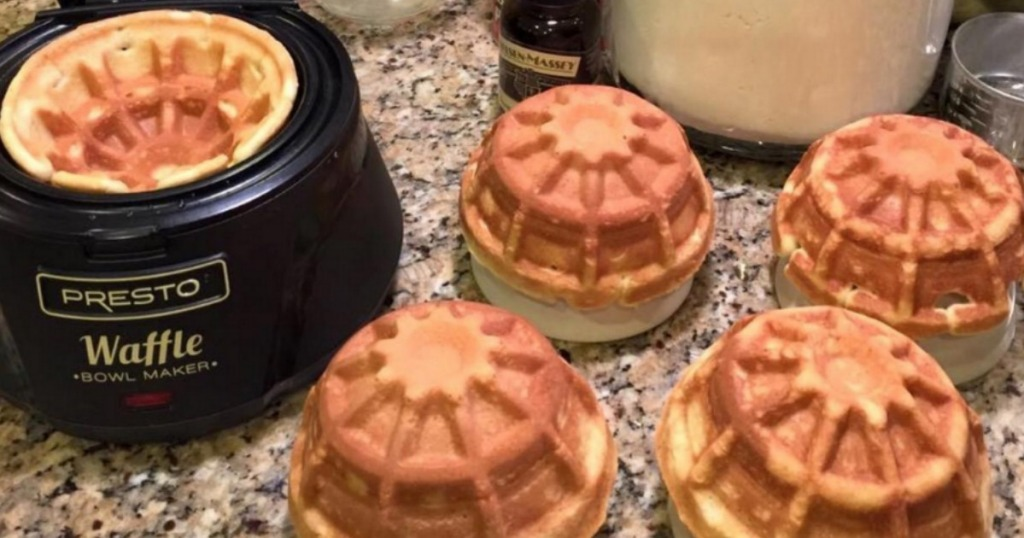 Presto waffle bowl maker with homemade waffle bowls on counter