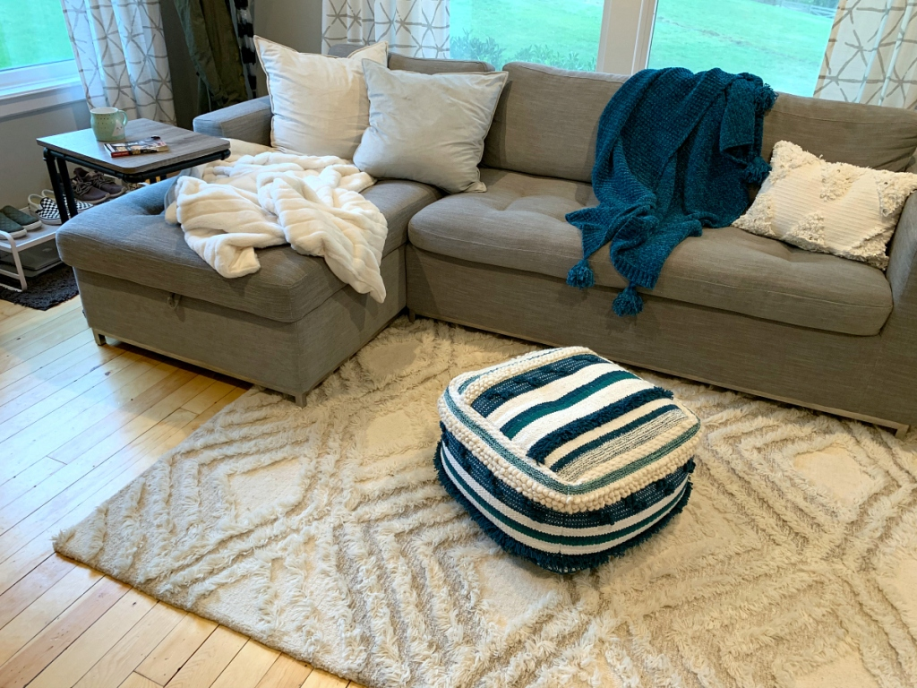 Collins living room with Project 62 Cream Moroccan Wedding Shag Tufted Area Rug