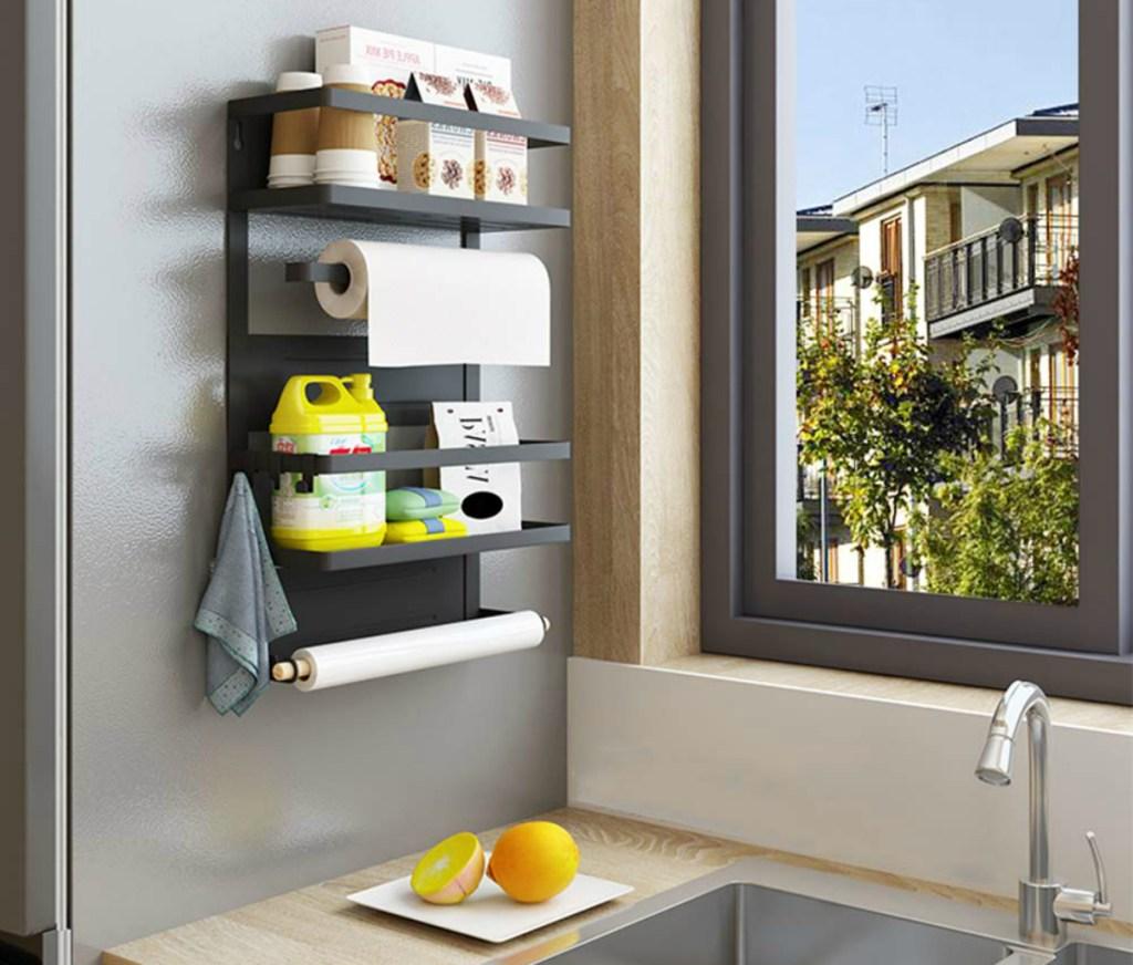 Refrigerator 4-Tier Magnetic Fridge Spice Rack Organizer