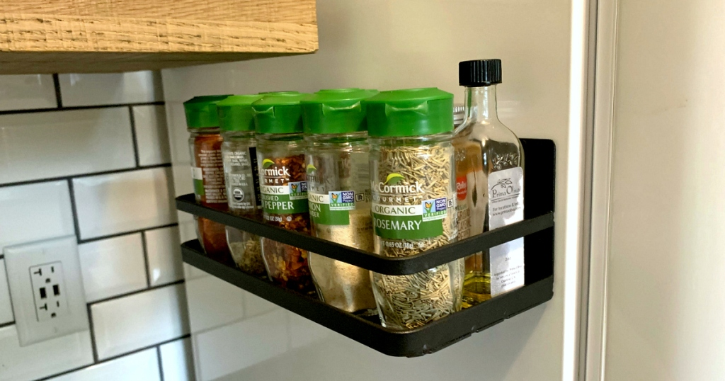spices in a Refrigerator Spice Rack Magnetic Organizer