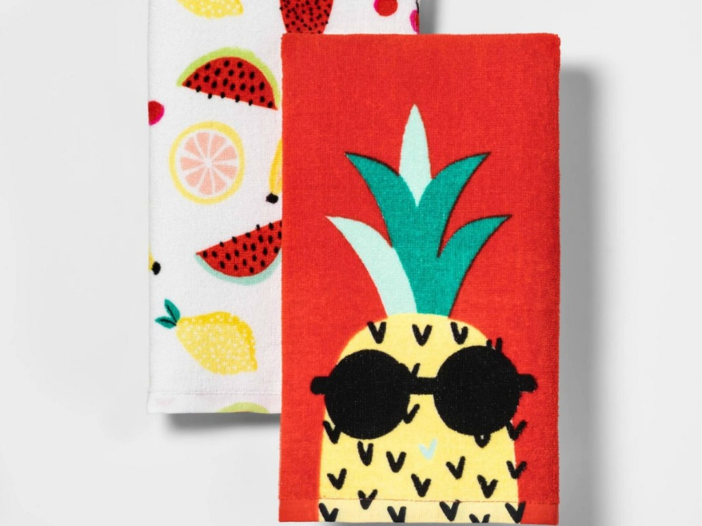 pineapple and fruit kitchen towels