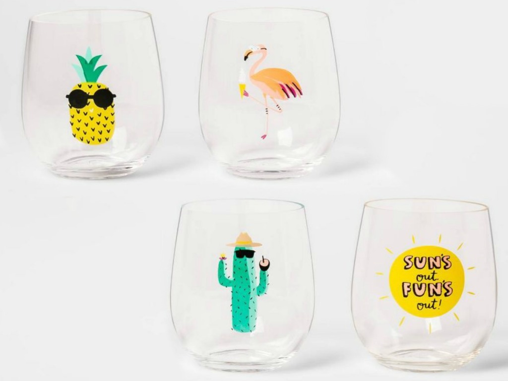 fun stemless wine glasses with summer decals