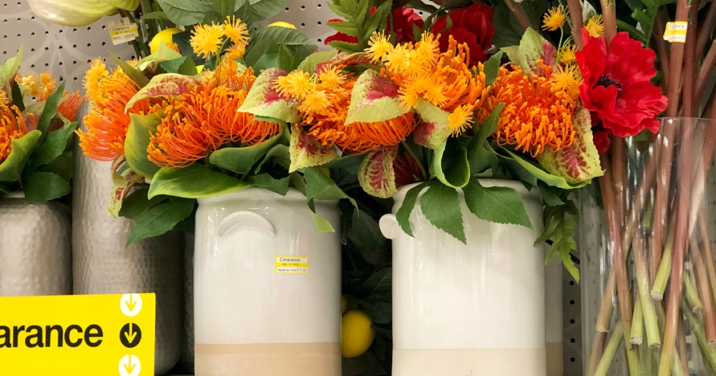 cream vase with colorful flowers at Target