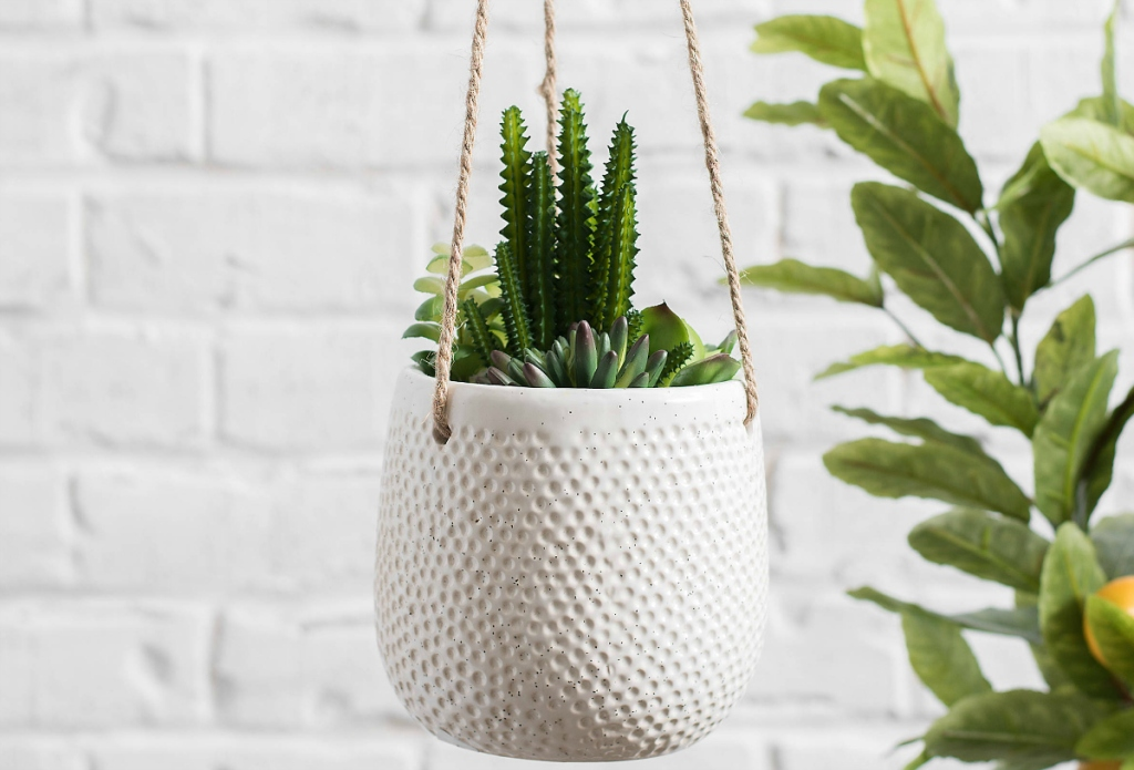 Textured Hanging Planters