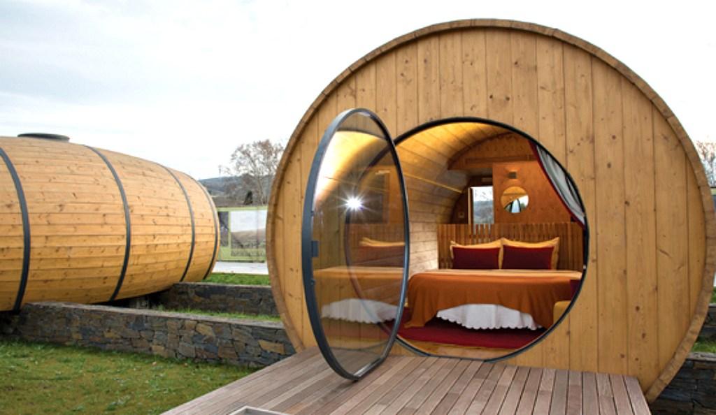 View of inside wine barrels in Portugal