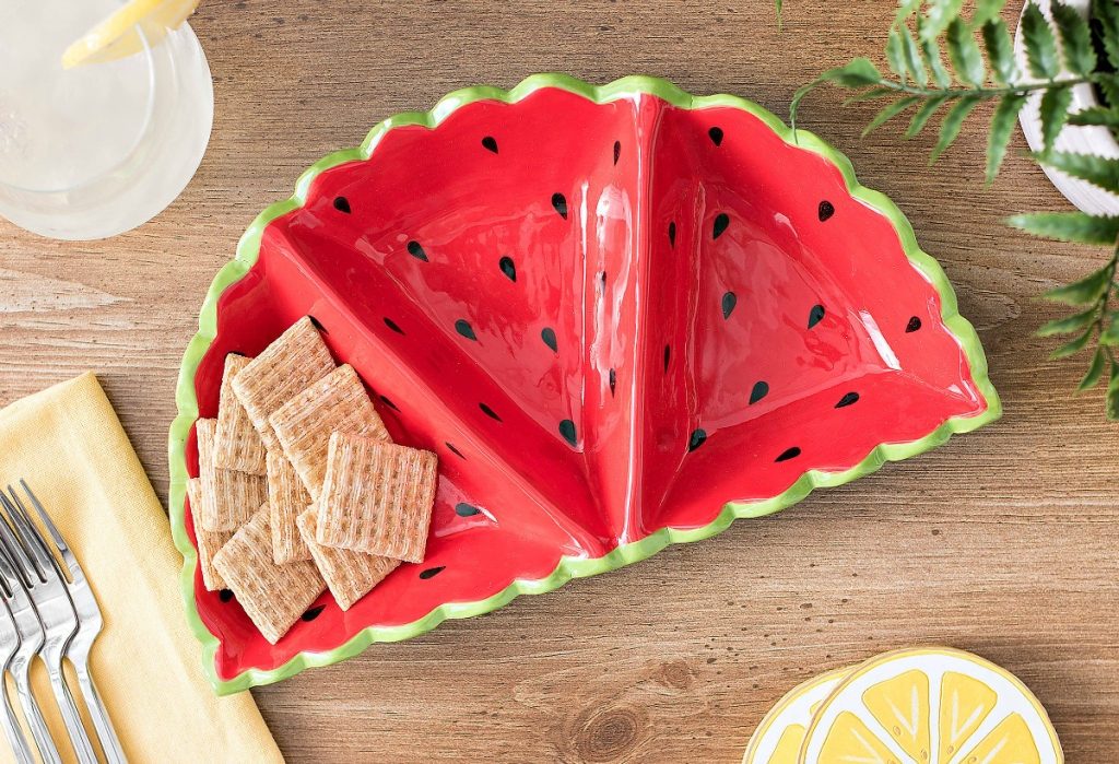 Watermelon Divided Sections Dish