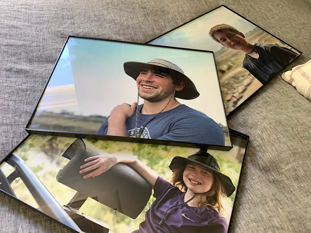 3 framed portraits of kids in the great outdoors